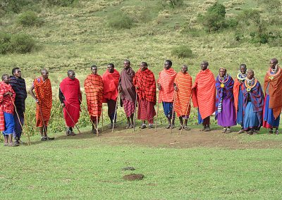 Maasai warrior and women at Lake Natron